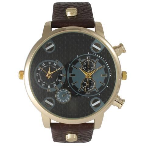 Olivia Pratt Men's Leather Three-dial Watch