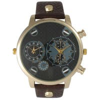 Olivia Pratt Men's Leather Three-dial Watch