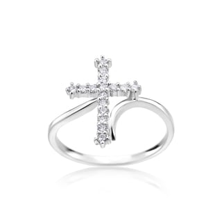 SummerRose 14k White Gold 1/4ct TDW Diamond Cross Ring (H-I, SI2-I1)