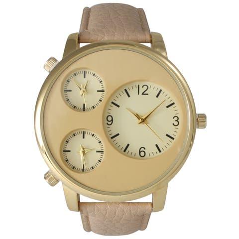 Olivia Pratt Men's Beige Leather, Metal, Stainless Steel 2-dial Watch