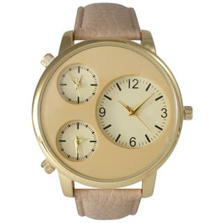 Olivia Pratt Men's Beige Leather, Metal, Stainless Steel 2-dial Watch|https://ak1.ostkcdn.com/images/products/12074182/P18941247.jpg?impolicy=medium