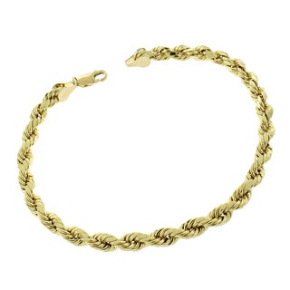 10k Yellow Gold 5.5-millimeter 9-inch Hollow Rope Diamond Cut Unisex Bracelet Chain
