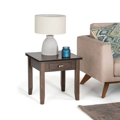 WYNDENHALL Stratford Solid Wood 21 inch Wide Square Contemporary End Side Table in Natural Aged Brown