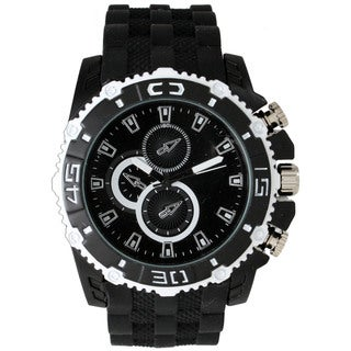 Olivia Pratt Men's Black Metal, Stainless Steel 3-dial Watch