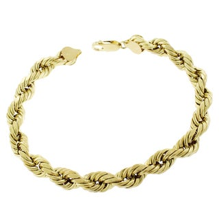 10k Yellow Gold 8-millimeter Hollow Rope Diamond-cut Unisex 9-inch Bracelet Chain