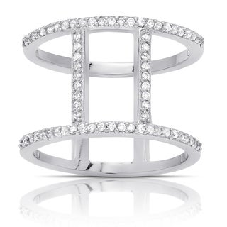 Samantha Stone Sterling Silver Cubic Zirconia Vertical Bar Ring
