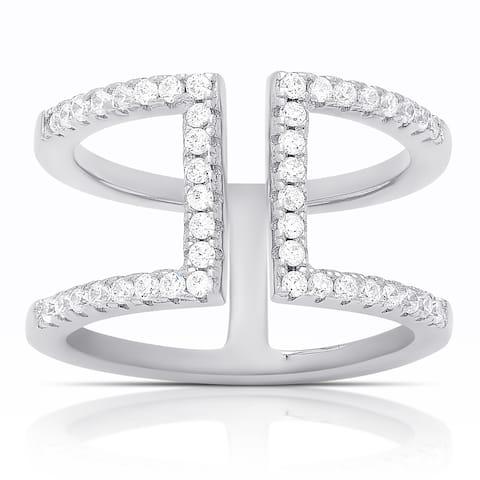 Samantha Stone Sterling Silver Cubic Zirconia Split Shank Ring