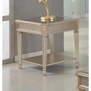 Best Master Furniture Palais Bronze/Glass/Wood End Table with Mirrored Top