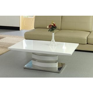 Best Master Furniture White Chrome, Lacquer, Wood Coffee Table