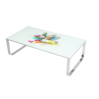 Best Master Furniture Artistic Painted Glass Coffee Table
