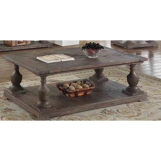 Best Master Furniture Oak-finish Pinewood Rustic Coffee Table