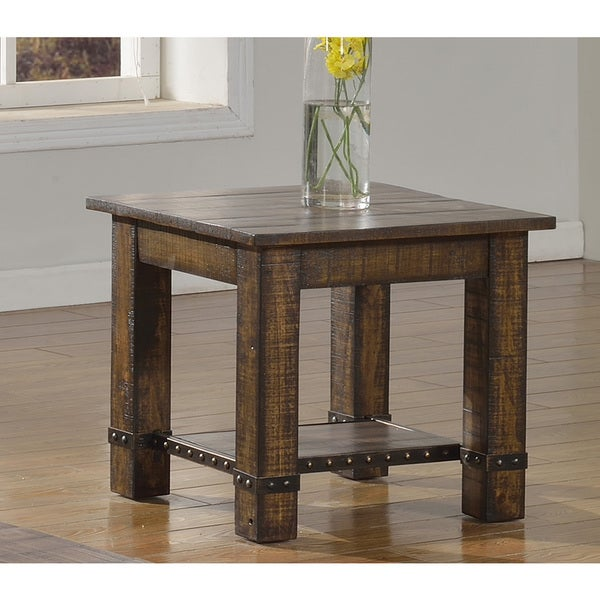 Shop Best Master Furniture Weathered Oak Sleigh: Shop Best Master Furniture Pecan Walnut End Table