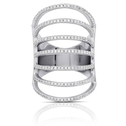 Samantha Stone Sterling Silver Cubic Zirconia Multi Strand Ring
