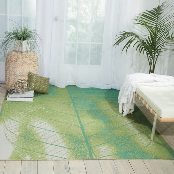 Nourison Coastal Green Indoor/ Outdoor Area Rug - 7'9 x 10'10