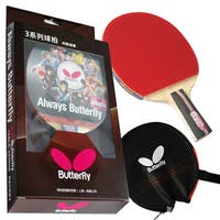 Butterfly 302 Chinese Penhold Table Tennis Racket Set with Ping Pong Paddle Case - ITTF Approved
