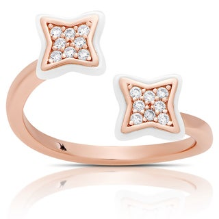 Samantha Stone Rose Gold Over Sterling Silver Cubic Zirconia Ceramic Clover Open Ring