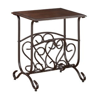 7913 Brown Birch Veneer and Black Metal 20-inch x 14-inch x 24-inch Chairside Table
