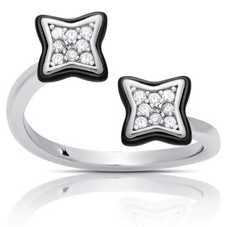 Samantha Stone Sterling Silver Cubic Zirconia Ceramic Clover Open Ring
