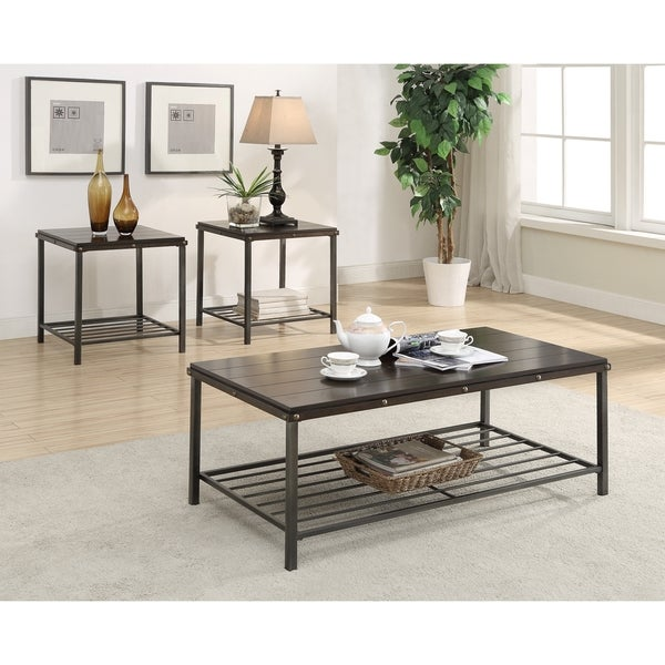Deon Industrial Style Pattern Metal Rectangle Coffee Table: Shop Metal And Wood Three-piece Occasional Table Set