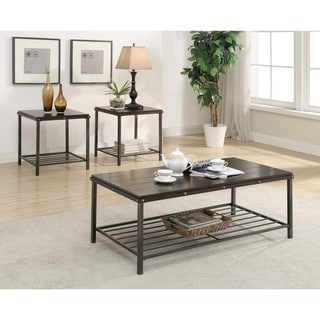 Metal and Wood Three-piece Occasional Table Set