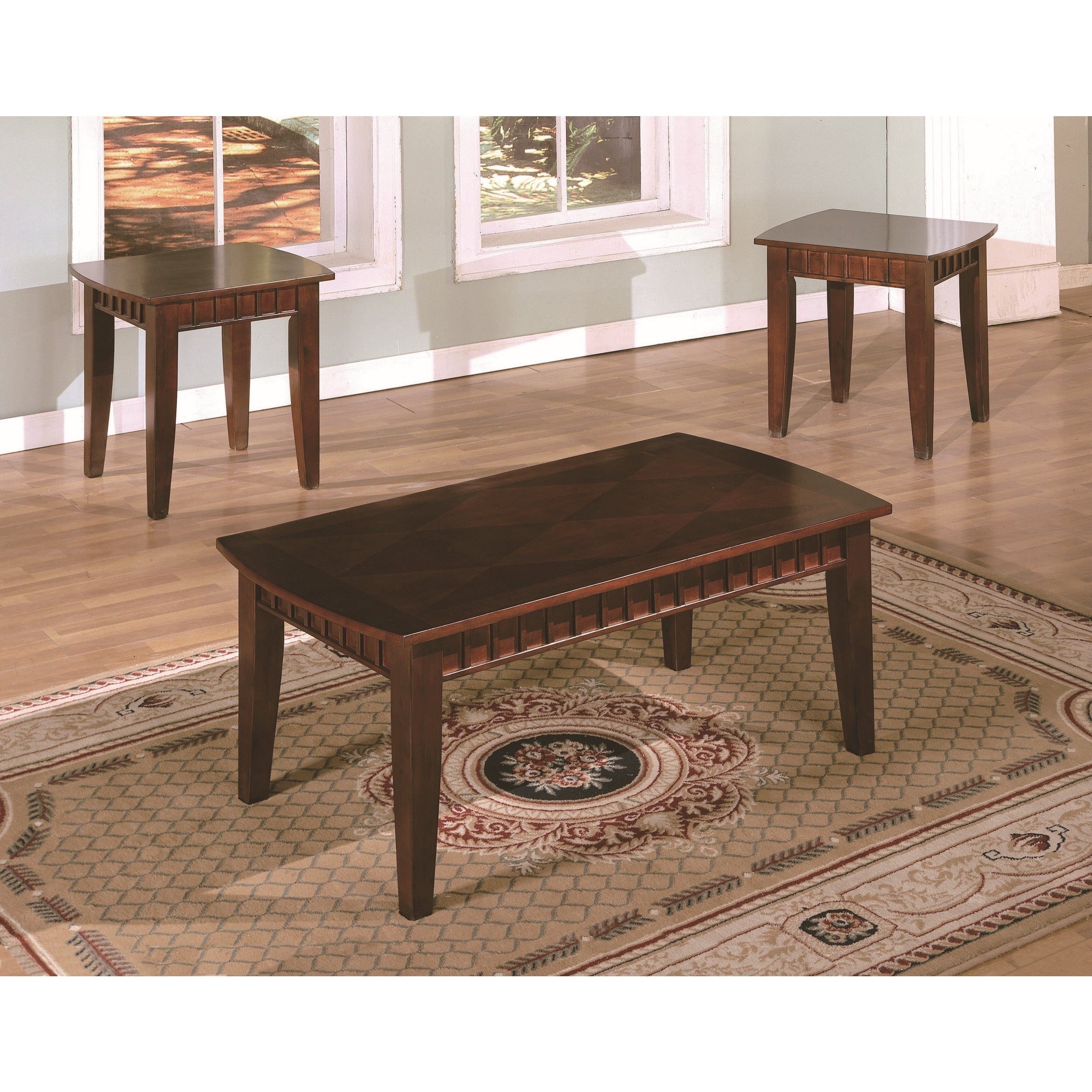 cherry finish veneer wood 3 piece coffee end table set with dentil molding ebay. Black Bedroom Furniture Sets. Home Design Ideas