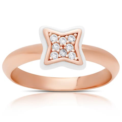 Samantha Stone Rose Gold Over Sterling Silver Cubic Zirconia Ceramic Clove Ring