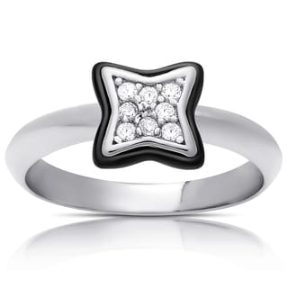 Samantha Stone Sterling Silver Cubic Zirconia Ceramic Clove Ring