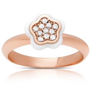 Samantha Stone Rose Gold Over Sterling Silver Cubic Zirconia Ceramic Flower Ring