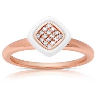 Samantha Stone Rose Gold Over Sterling Silver Cubic Zirconia Ceramic Cushion-cut Ring