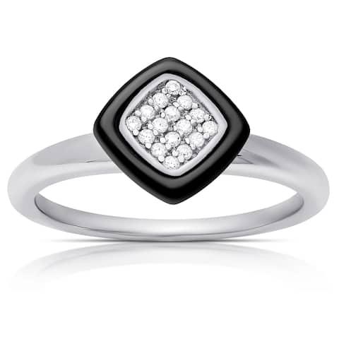 Samantha Stone Sterling Silver Cubic Zirconia Cushion-cut Ring