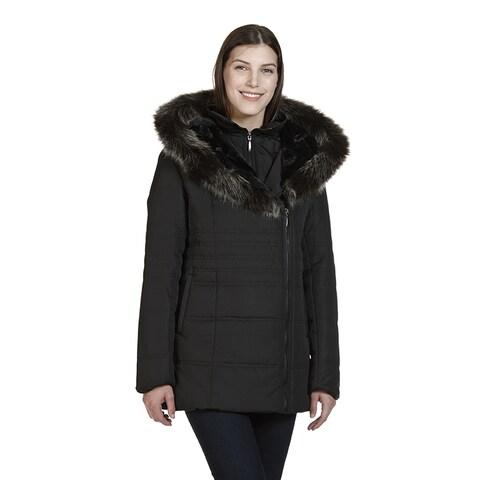 London Women's Black Polyester Hooded Polyfil Jacket