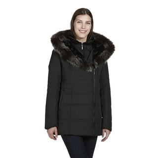 London Women's Black Polyester Hooded Polyfil Jacket