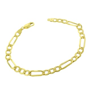 10k Yellow Gold 6.5-millimeter Hollow Figaro Link Fancy Chain Bracelet