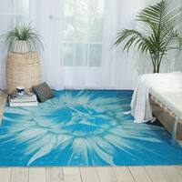 Nourison Coastal Blue Indoor/ Outdoor Area Rug - 5'3 x 7'5