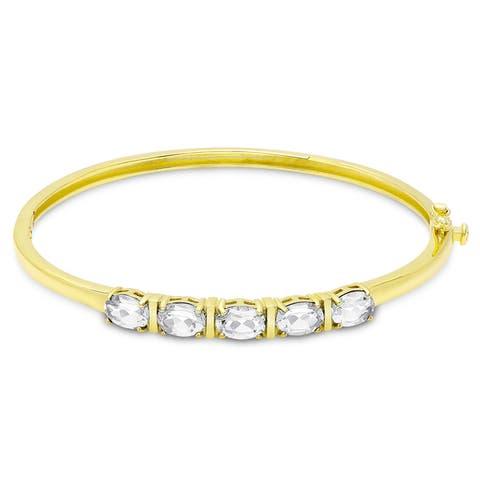 Dolce Giavonna Gold Over Sterling Silver Oval Gemstone Birthstone Bangle