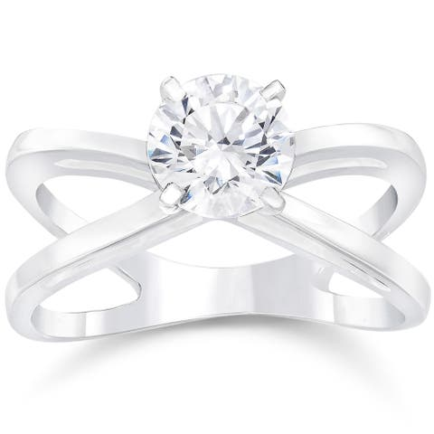 14k White Gold 1ct TDW Round Cut Clarity Enhanced Diamond Solitaire Engagement Ring