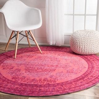 nuLOOM Vintage Inspired Fancy Overdyed Pink Round Rug (5'5 Round)