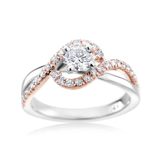 SummerRose 14k Two-tone Gold 1 1/3ct TDW Diamond Fancy Halo Engagement Ring