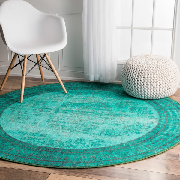 Nuloom Vintage Inspired Fancy Overdyed Turquoise Round Rug