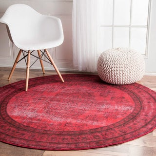 nuLOOM Vintage Inspired Fancy Overdyed Red Round Rug (5'5 Round)