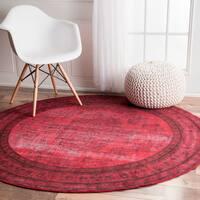 Nuloom Vintage Inspired Fancy Overdyed Pink Round Rug 5 5