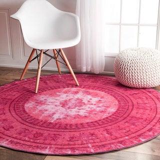 nuLOOM Vintage Inspired Adileh Overdyed Pink Round Rug (5'5 Round)