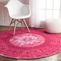 nuLOOM Vintage Inspired Adileh Overdyed Pink Round Rug - 5'5