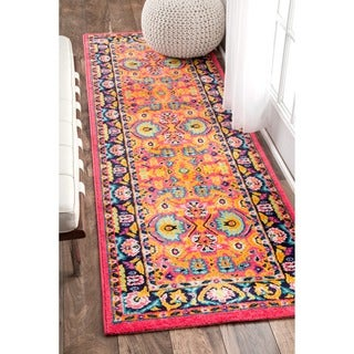 nuLOOM Vibrant Floral Persian Pink Runner Rug (2'5 x 8')