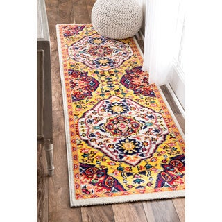 nuLOOM Vibrant Floral Centerpiece Multi Runner Rug (2'5 x 8')