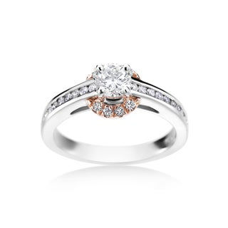 SummerRose, 14k White and Rose Gold Engagement Halo Diamond Ring 0.77cttw