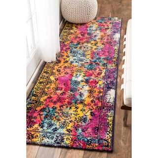 nuLOOM Vintage Vibrant Watercolor Floral Multi Runner Rug (2'5 x 8')
