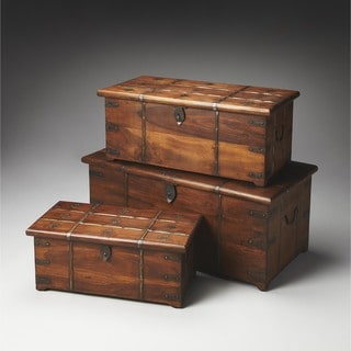 Butler Arcadia Solid Wood and Iron Storage Trunk Set