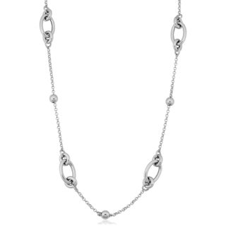 Argento Italia Rhodium Plated Sterling Silver Oval and Bead Station Necklace (32 inches)