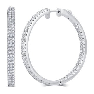 Divina Silver-over-brass 1-carat TDW Cubic Zerconia Inside/Outside Hoop Earring
